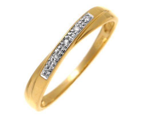 9ct Yellow Gold Diamond Wedding Band