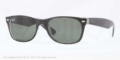 Ray Ban RB2132 New Wayfarer Sunglasses-6052 Black/Transparent (Green Lens),52mm