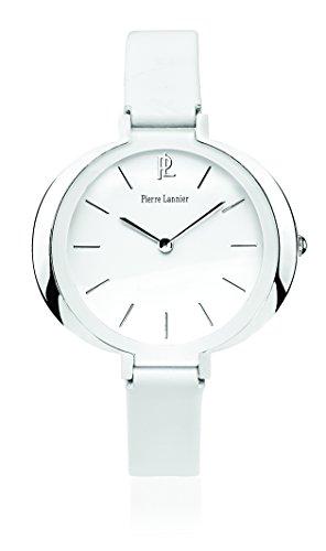 Pierre Lannier - 034L600 - Week End Ligne Pure - Montre Femme - Quartz Analogique - Cadran Blanc - Bracelet Cuir Blanc