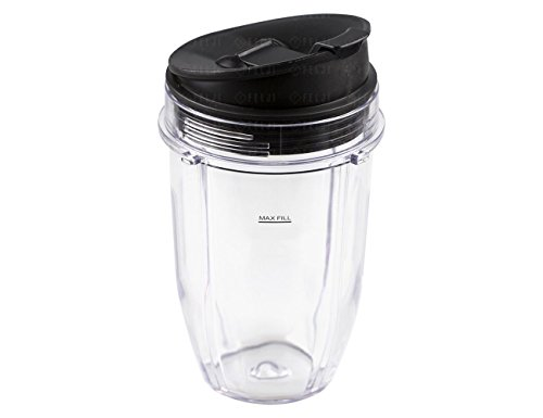 18oz Cup for Nutri Ninja Blender, 18oz Cup with Lid For 900w 1000w Auto-iQ Blender, NutriNinja Blender Accessories Replacement Parts - NEW (Nutrininja 900 Cups compare prices)