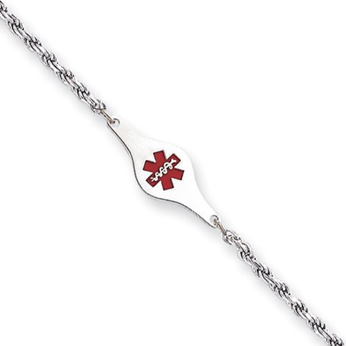 Sterling Silver Children's Medical ID Bracelet with Rope Link