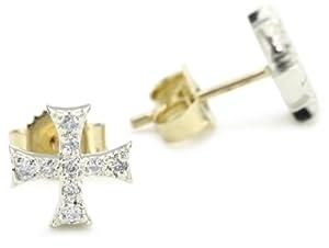 Mizuki Silver and Gold Petite Diamond Square Cross Stud Earrings