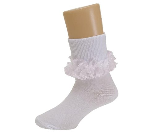 Frilly Lace Bobby Socks for Ladies Trim in 4 Colors
