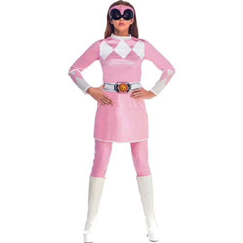 Adult Women's Classic Mighty Morphin Pink Power Ranger Fancy Dress Costume