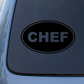 CHEF EURO OVAL - Vinyl Car Decal Sticker #1694 | Vinyl Color: Black