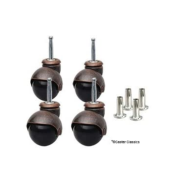 Caster Classics 4-Pack 2-inch Antique Copper Ball Caster with Wood Stem and Socket