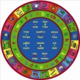 Joy Carpets Kid Essentials Language & Literacy Round Spanish LenguaLink Rug, Multicolored, 13'2""
