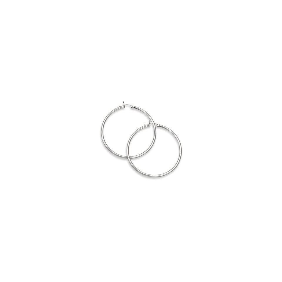 14K White Gold Hoop Earrings   2 1/16 inch diameter (2mm