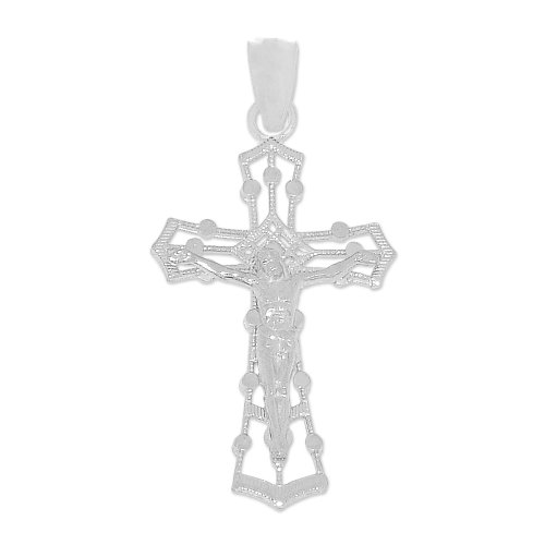 14k White Gold, Small Filigree Design Cross Crucifix Christ Pendant Charm