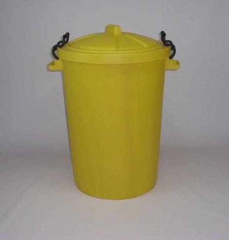 80/85 litre yellow garden/house/storage dustbin/bin(made in uk)