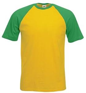 Short Sleeve Baseball T-Shirt Sunflower Yellow/Kelly Green