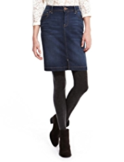 Indigo Collection Cotton Rich Washed Look Denim Mini Skirt