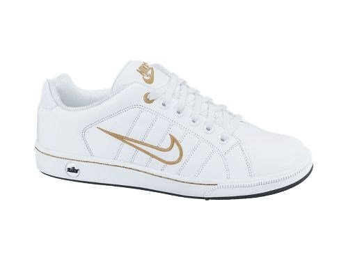 Nike Court Tradition II Women's White & Gold Leather Tennis Trainers - UK 3