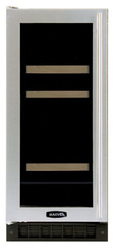 Marvel 3BARM-BS-G-L 15-inch Wide Beverage & Wine Center Right Hinge Door, Glass with Stainless Steel Trim