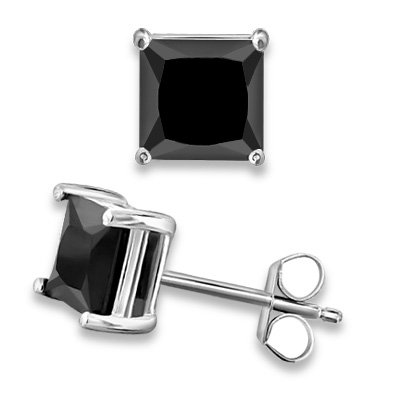 1/2 ctw Princess Cut Black CZ Sterling Silver White Rhodium Stud Earrings 4x4 mm