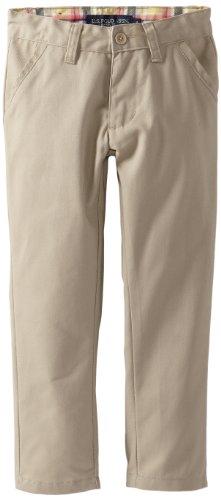 U.S. Polo Association  Little Girls'  Uniform Twill Skinny Pant With Plaid Inside Waistband, Khaki, 6X