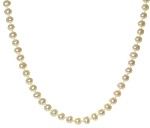 Classical 9 ct Gold 5.0-5.5mm Cream Pearl Women Necklace - 16.9 inch