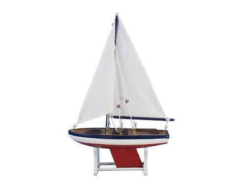 """Handcrafted Nautical Decor It Floats 12"""" American Floating Sailboat Handcrafted Model Ship, Fully Assembled (Not A Kit)"""