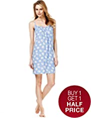 Smocked Scoop Neck Floral Chemise