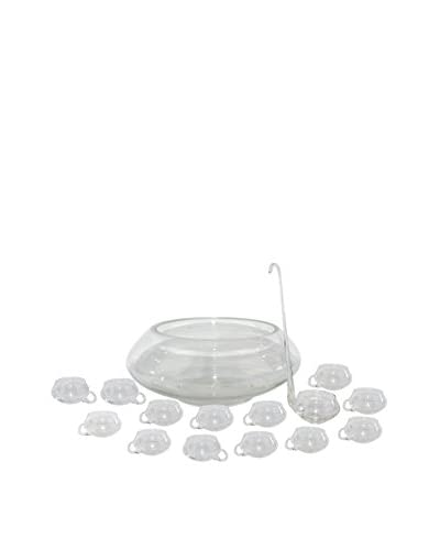Uptown Down Previously Owned 14-Piece Hand Blown Glass Punch Bowl Set