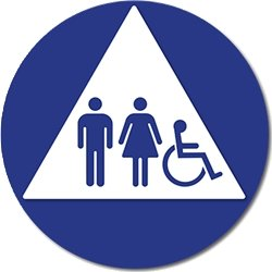 Ada Unisex Restroom Door Sign Isa Pictograms White Triangle 12x12 Office Products