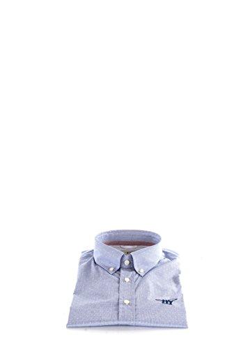 Camicia Uomo Henry Cotton's 44 Celeste 52023 90 23982 Autunno Inverno 2016/17