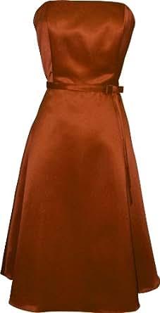 50s Strapless Satin Bridesmaid Bridesmaid Dress Homecoming, XS, Pumpkin