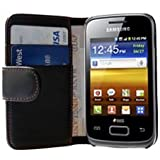 Black PU Leather Wallet Vertical Case for Samsung S6102 / S6102B Galaxy Y Duos - Flip Phone Cover + 2 Screen Protectors