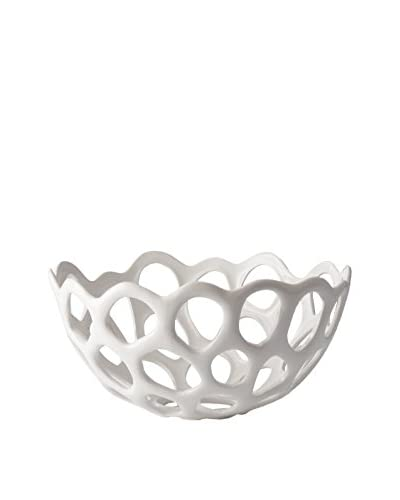Artistic Perforated Porcelain Dish, Medium, White
