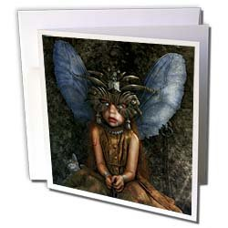 Houk Digital Fantasy Art Naai Sad scene with little nymph Surreal image with eerie and mysterious mood Greeting Cards 6 Greeting Cards with envelopes