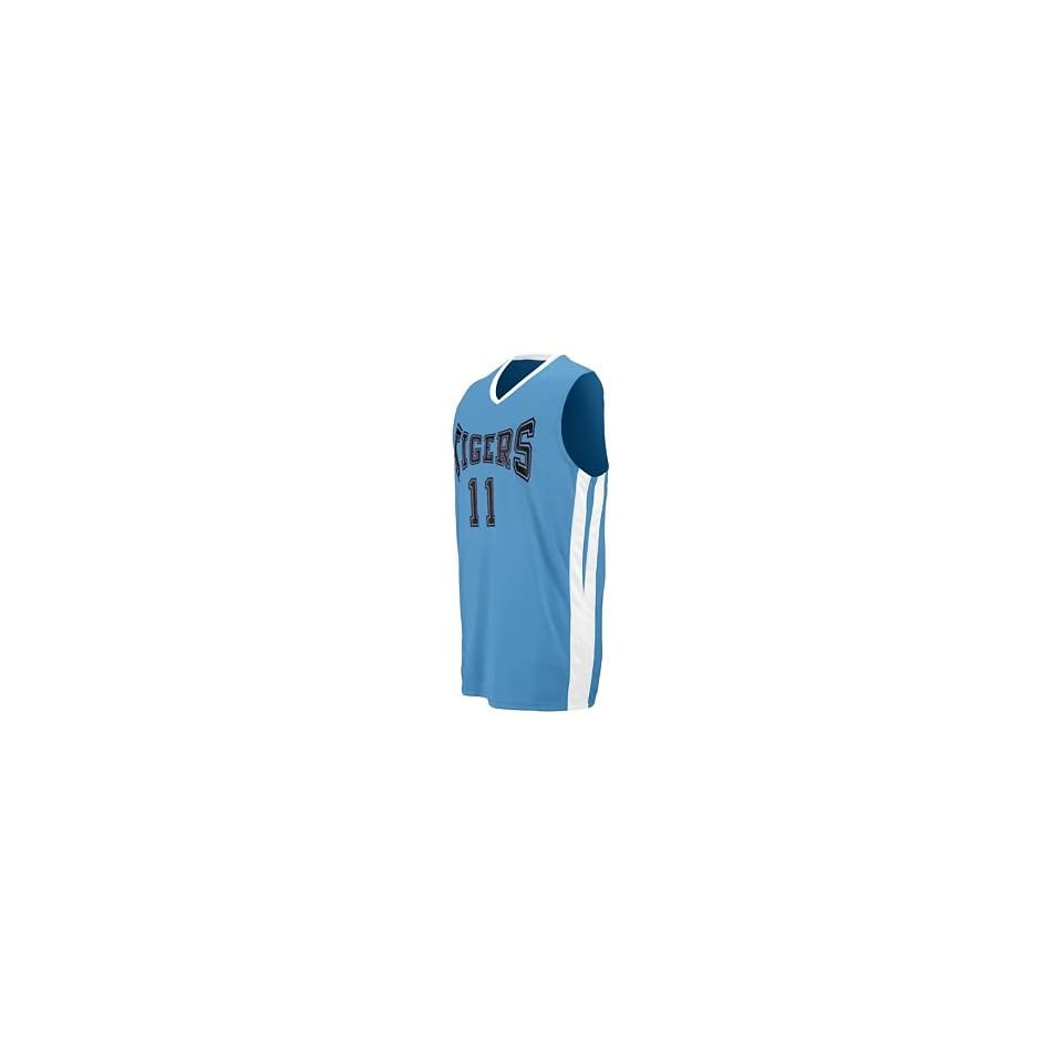 Youth Triple Double Game Jersey   Columbia and White   Large