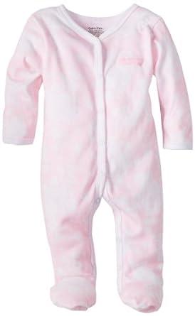 Calvin Klein Baby-girls Newborn Print Stretchie Coverall, Pink, 3-6 Months