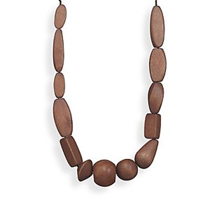 Brown Wood Bead Fashion Necklace