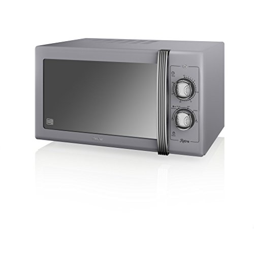 SWAN Retro Manual Microwave, 25 Litre, 900 W, Grey