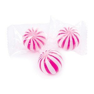 Pink & White Sassy Spheres Striped Candy Balls Strawberry 1 Pounds