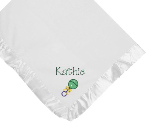 Baby Rattle White Soft Fleece Embroidered Personalized Baby Blanket - Custom Embroidery Green Thread front-1048408