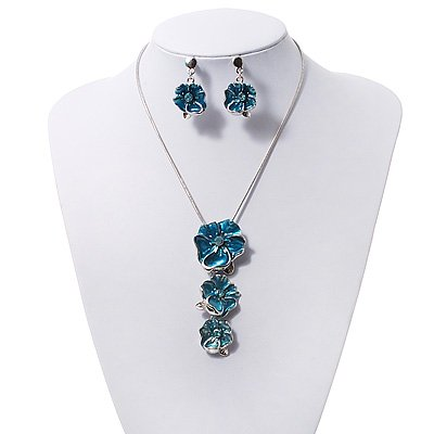 'Triple Flower' Teal Enamel Diamante Necklace & Drop Earrings Set In Rhodium Plated Metal - 38cm Length (6cm extender)