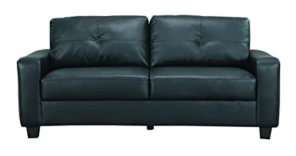 Jasmine Rich Black Leather Sofa by Coaster