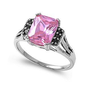 Sterling Silver 11mm Rectangular Black & Pink CZ Ring (Size 5 - 9) - Size 5