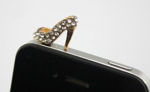 Big Dragonfly Crystal Diamond Sexy High-Heel Shoe Style 3.5Mm Headphone Jack Anti Dust Plug Cap For Iphone 5,4,4S,Ipad ,Ipod Touch ,Samsung Galaxy S3 S4 Note 2 Ii Htc Silver