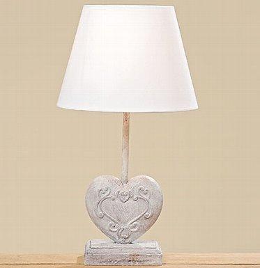 Lampada da cuore Casandra H45cm grigio chiaro materiale Mix materiale: TC plastica + ferro + legno di pino/lat.Pinus sylvestris Max., E27, 40W, EU Plug taglia di cavo: 1,5m