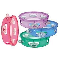 LMI Transparent Tambourine with Head Purple 15CM