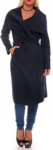 malito lungo Cappotti con Cascata-Design Gilet Giacca Bolero Pulsanti Cape Cardigan Oversize Maglione Casual Basic 3040 Donna Taglia Unica (nero)