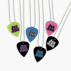 Pick Jesus Guitar Pick Necklaces (1 dozen) - Bulk [Toy] - 1