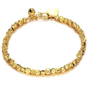 OPK South Korea Style New Fashion 18K Gold Plated Bracelet No Fade Bell Bangle Hand Chain Lady Jewellery Best Gift!