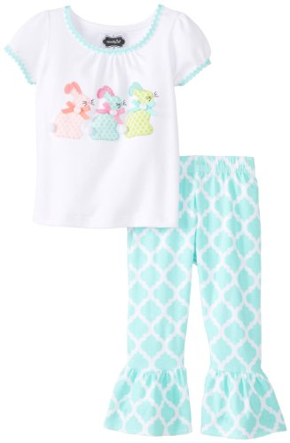 Mud Pie Baby-Girls Newborn Bunny Tunic and Legging Set, Blue/White, 6-9 Months (Mud Pie White Lace Leggings compare prices)