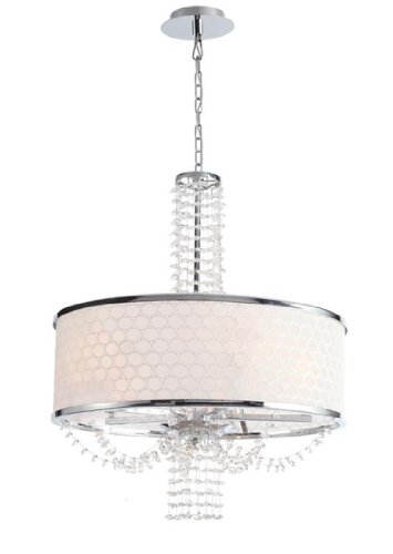 9805-CH Allure 5LT Chandelier, Polished Chrome Finish with White Silk Pattern Shade and Clear Hand Cut Crystal