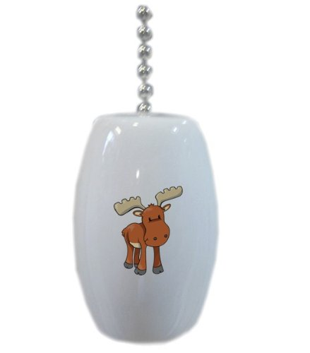 Baby Moose Ceramic Fan Pull front-86131