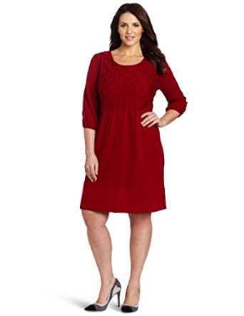 Size Sweater Dress on Plus Size Three Quarter Sleeved Round Neck Sweater Dress  Brick  2x