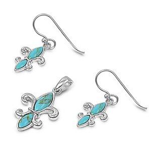 Sterling Silver Turquoise Fleur De Lis Earring & Necklace Set